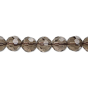 bead, smoky quartz (heated / irradiated), light to medium, 8mm faceted round, b grade, mohs hardness 7. sold per 16-inch strand.