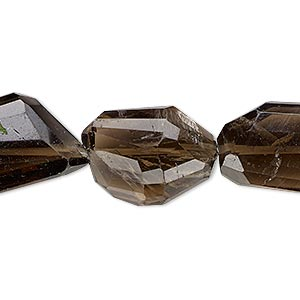 bead, smoky quartz (heated / irradiated), medium to dark, small to large hand-cut faceted flat nugget, mohs hardness 7. sold per 6-inch strand.