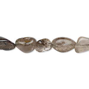 bead, smoky quartz (heated / irradiated), mini to small hand-cut nugget, mohs hardness 7. sold per 12-inch strand.