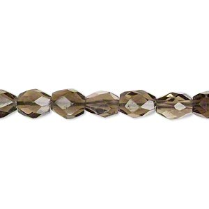 bead, smoky quartz (heated / irradiated), shaded, 9x5mm hand-cut faceted oval, b grade, mohs hardness 7. sold per 16-inch strand.