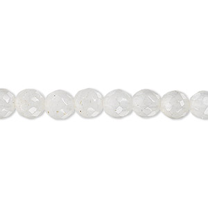 bead, snow quartz (natural), 6mm faceted round, b grade, mohs hardness 7. sold per 16-inch strand.