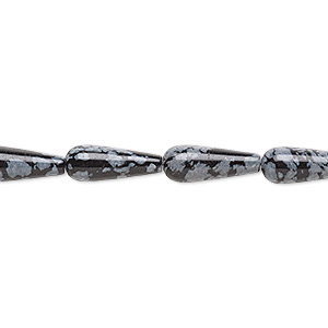 bead, snowflake obsidian (natural), 16x6mm teardrop, b grade, mohs hardness 5 to 5-1/2. sold per 16-inch strand.