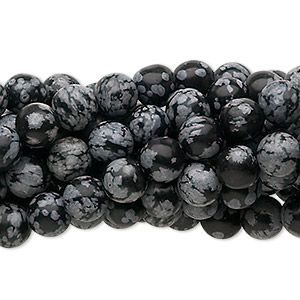 bead, snowflake obsidian (natural), 6mm round, c grade, mohs hardness 5 to 5-1/2. sold per pkg of (10) 16-inch strands.