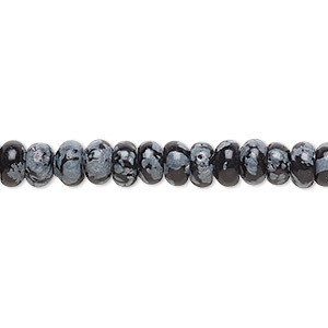 bead, snowflake obsidian (natural), 6x3mm rondelle, b grade, mohs hardness 5 to 5-1/2. sold per 16-inch strand.