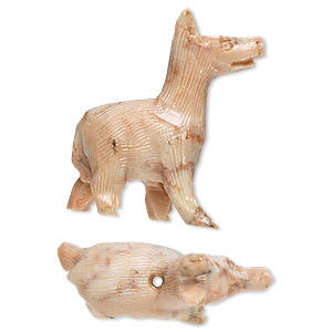 bead, soapstone (coated), 33x28mm-42x38mm hand-carved llama, c grade. sold per pkg of 2.
