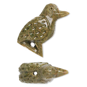 bead, soapstone (coated), 40x17mm-45x19mm hand-carved standing woodpecker, c grade. sold per pkg of 2.
