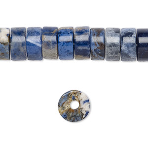 bead, sodalite (natural), 10x5mm heishi with 2-2.5mm hole, b grade, mohs hardness 5 to 6. sold per pkg of 10.
