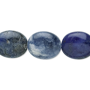 bead, sodalite (natural), 16x14mm puffed oval, b grade, mohs hardness 5 to 6. sold per 16-inch strand.