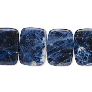 bead, sodalite (natural), 18x13mm double-drilled rectangle with 0.5-1.5mm holes, b grade, mohs hardness 5 to 6. sold per 8-inch strand, approximately 15 beads.