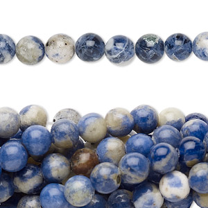 bead, sodalite (natural), 6mm round, c grade, mohs hardness 5 to 6. sold per pkg of (10) 16-inch strands.