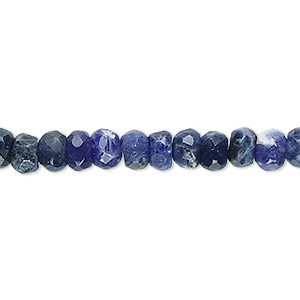 bead, sodalite (natural), 6x4mm faceted rondelle, b grade, mohs hardness 5 to 6. sold per 16-inch strand.