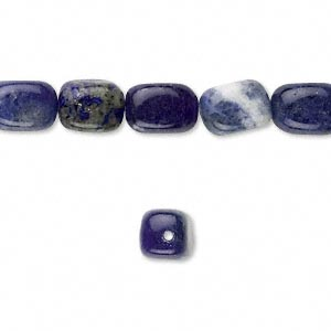 bead, sodalite (natural), small to medium tumbled pebble, mohs hardness 5 to 6. sold per 16-inch strand.