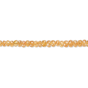 bead, spessartite garnet (natural), 3x2mm-5x3mm graduated hand-cut faceted rondelle, b grade, mohs hardness 6-1/2 to 7-1/2. sold per 8-inch strand.