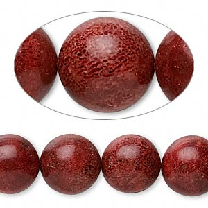 bead, sponge coral (dyed), red, 11-12mm round, d grade, mohs hardness 3-1/2 to 4. sold per 15-inch strand.