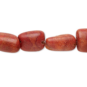 bead, sponge coral (dyed), red, small to medium nugget, mohs hardness 3-1/2 to 4. sold per 15-inch strand.