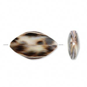 bead, spotted tiger cowrie shell (natural), 24x15mm flat oval. sold per pkg of 4.