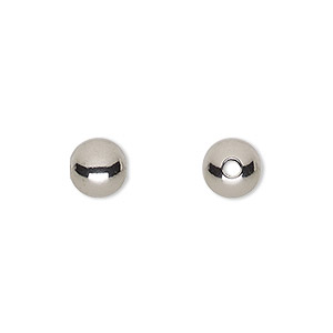bead, stainless steel, 8mm round with 2mm hole. sold per pkg of 100.