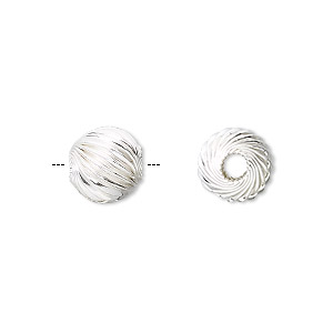 bead, sterling silver, 10mm corrugated twist. sold per pkg of 20.