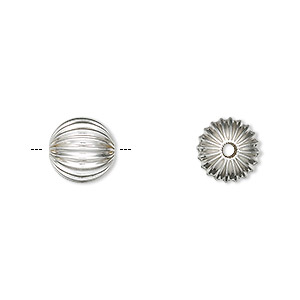 bead, sterling silver, 10mm seamless corrugated round. sold per pkg of 2.