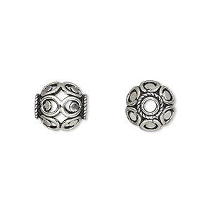 bead, sterling silver, 10x10mm oval with open design. sold per pkg of 2.