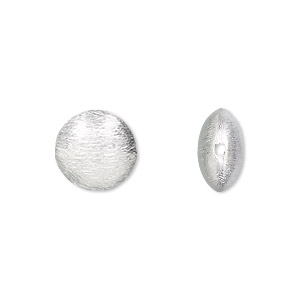 bead, sterling silver, 12x6mm brushed puffed flat round. sold individually.