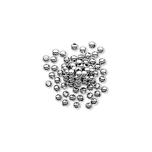 bead, sterling silver, 2mm seamless round. sold per pkg of 100.