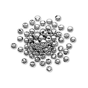 bead, sterling silver, 3mm seamless round. sold per pkg of 100.