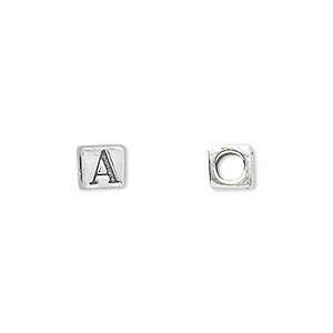 bead, sterling silver, 5.5x5.5mm cube with alphabet letter a and 3.5mm hole. sold individually.