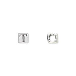 bead, sterling silver, 5.5x5.5mm cube with alphabet letter t and 3.5mm hole. sold individually.