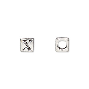 bead, sterling silver, 5.5x5.5mm cube with alphabet letter x and 3.5mm hole. sold individually.