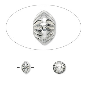 bead, sterling silver, 6.5x4.5mm corrugated saucer. sold per pkg of 2.
