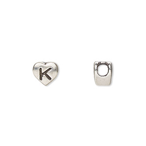 bead, sterling silver, 7.5x7mm heart with alphabet letter k and 3mm hole. sold individually.
