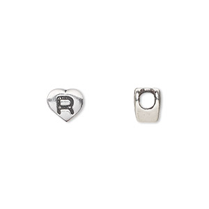 bead, sterling silver, 7.5x7mm heart with alphabet letter r and 3mm hole. sold individually.