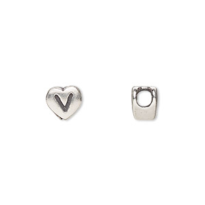 bead, sterling silver, 7.5x7mm heart with alphabet letter v and 3mm hole. sold individually.
