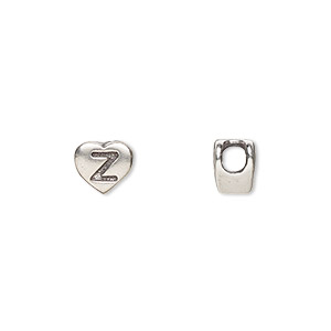 bead, sterling silver, 7.5x7mm heart with alphabet letter z and 3mm hole. sold individually.