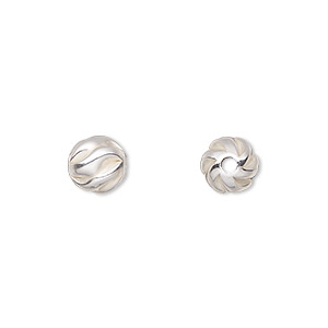 bead, sterling silver, 8mm partially matte twisted corrugated round. sold per pkg of 2.