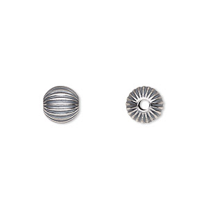 bead, sterling silver, 8mm seamless corrugated round with 2mm hole. sold per pkg of 10.