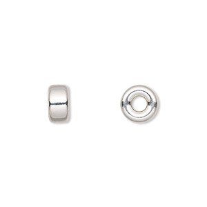 bead, sterling silver, 8x4mm smooth flat rondelle. sold per pkg of 10.