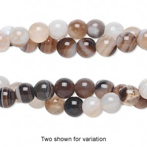 bead, striped agate (dyed), 5-6mm round, c grade, mohs hardness 6-1/2 to 7. sold per pkg of (2) 15-inch strands.