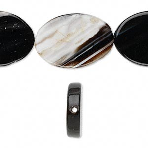 bead, striped black agate (dyed), 26x19mm-33x24mm flat oval, c grade, mohs hardness 6-1/2 to 7. sold per 16-inch strand.