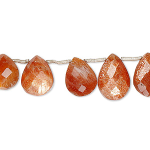 bead, sunstone (dyed), 10x7mm-13x9mm hand-cut top-drilled faceted puffed teardrop, b grade, mohs hardness 6 to 6-1/2. sold per 8-inch strand, approximately 20 beads.