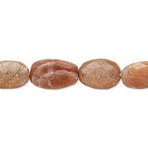 bead, sunstone (natural / dyed), 11x9mm-15x10mm hand-cut faceted puffed oval, c- grade, mohs hardness 6 to 6-1/2. sold per 5-inch strand.