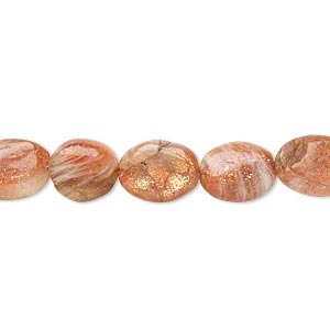 bead, sunstone (natural), 9x7mm-14x9mm hand-cut puffed oval, c- grade, mohs hardness 6 to 6-1/2. sold per 14-inch strand.