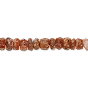 bead, sunstone (natural), light to medium, 7x3mm-8x5mm hand-cut faceted rondelle, d grade, mohs hardness 6 to 6-1/2. sold per 7-inch strand.