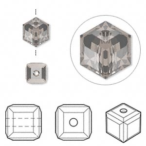 bead, swarovski crystal, crystal passions, greige, 6x6mm faceted cube (5601). sold per pkg of 6.