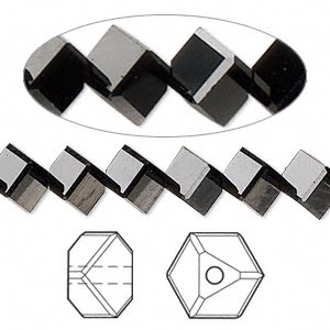 bead, swarovski crystal, crystal passions, jet, 8x6mm faceted dice (5600). sold per pkg of 12.