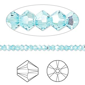 bead, swarovski crystal, crystal passions, light turquoise ab, 3mm xilion bicone (5328). sold per pkg of 48.