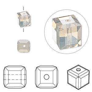 bead, swarovski crystal, light grey opal, 6x6mm faceted cube (5601). sold per pkg of 6.