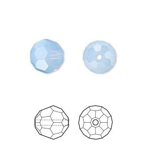 bead, swarovski crystals, air blue opal, 10mm faceted round (5000). sold per pkg of 2.