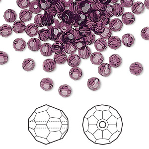 bead, swarovski crystals, amethyst, 4mm faceted round (5000). sold per pkg of 720 (5 gross).